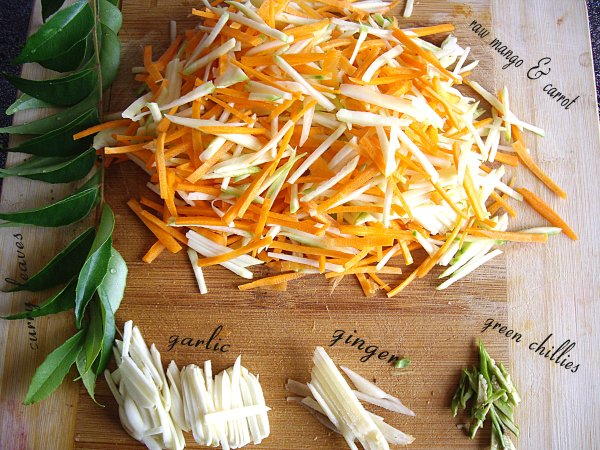 mango and carrot pickle ingredients